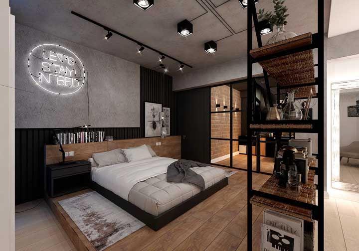 Um quarto de casal moderno e que esbanja jovialidade, mas sem perder a elegância