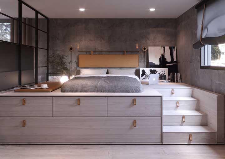Quarto funcional e planejado: a estrutura que eleva a cama em uma espécie de mezanino é também um armário multiuso