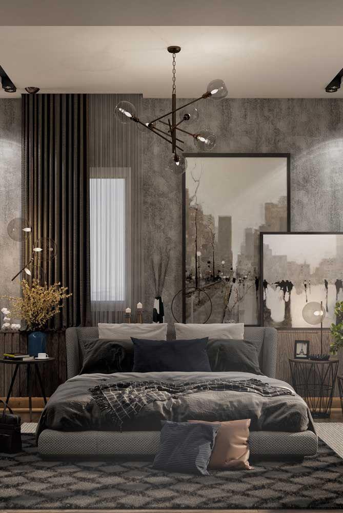 Muitas texturas para provocar o olhar e os sentidos nesse quarto de casal