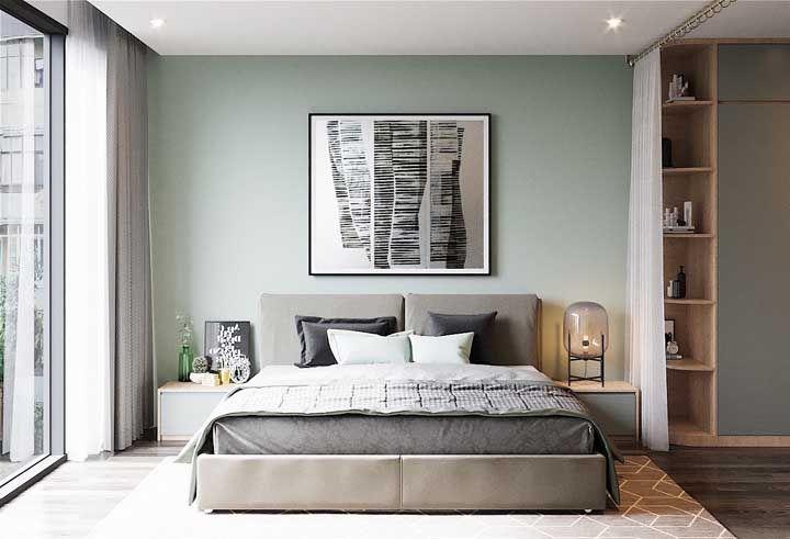 Quadros de frente a cama são uma ótima opção de decoração para quarto de casal; escolha um que se adeque a sua proposta