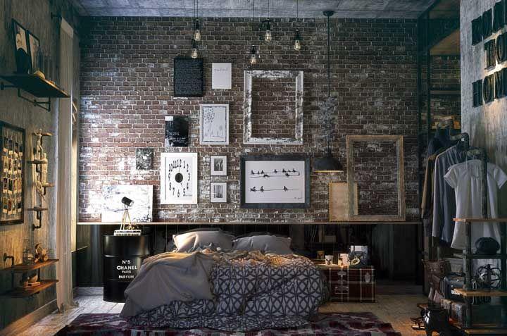 Inspiração para um quarto de casal moderno e descontraído: aposte no estilo industrial