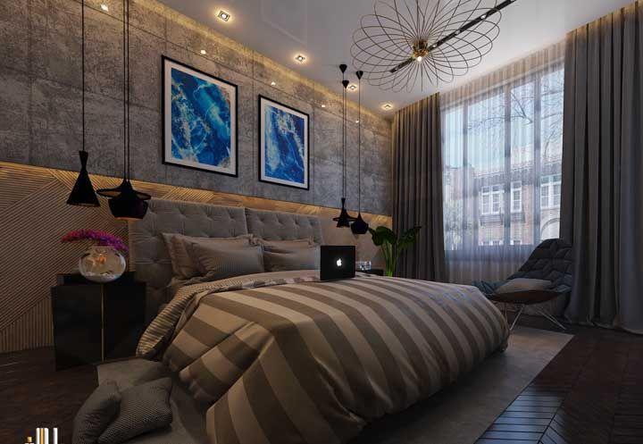 Já se é uma decoração marcante que você deseja, o que acha desse quarto de casal?
