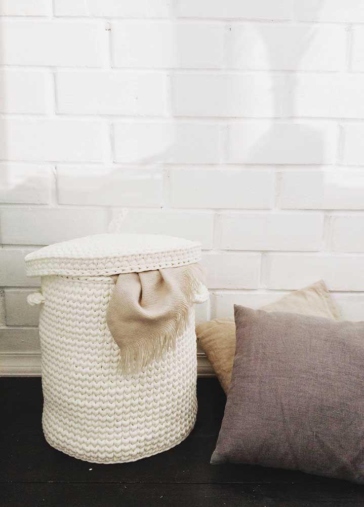Versão do cesto de crochê com tampa para deixar a casa ainda mais em ordem