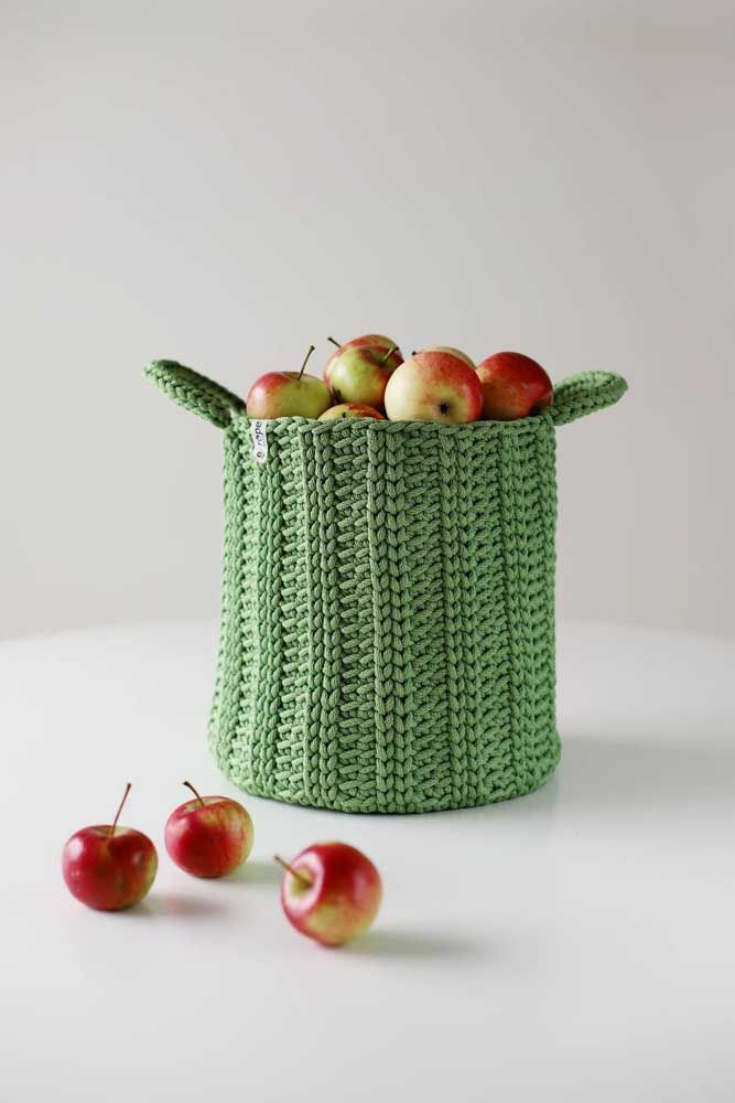 Cesto de crochê para frutas