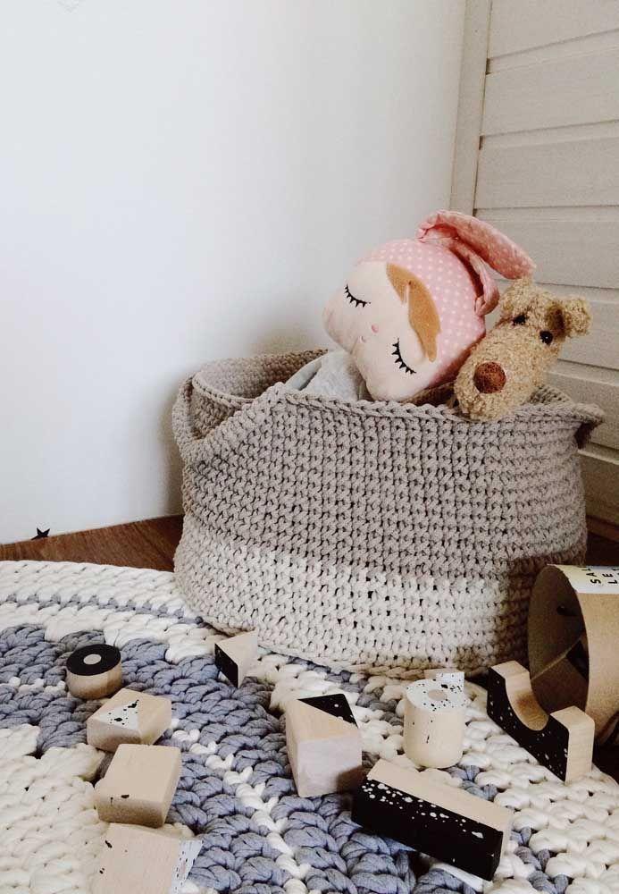 Tons neutros também são bem vindos nos cestinhos de crochê infantis