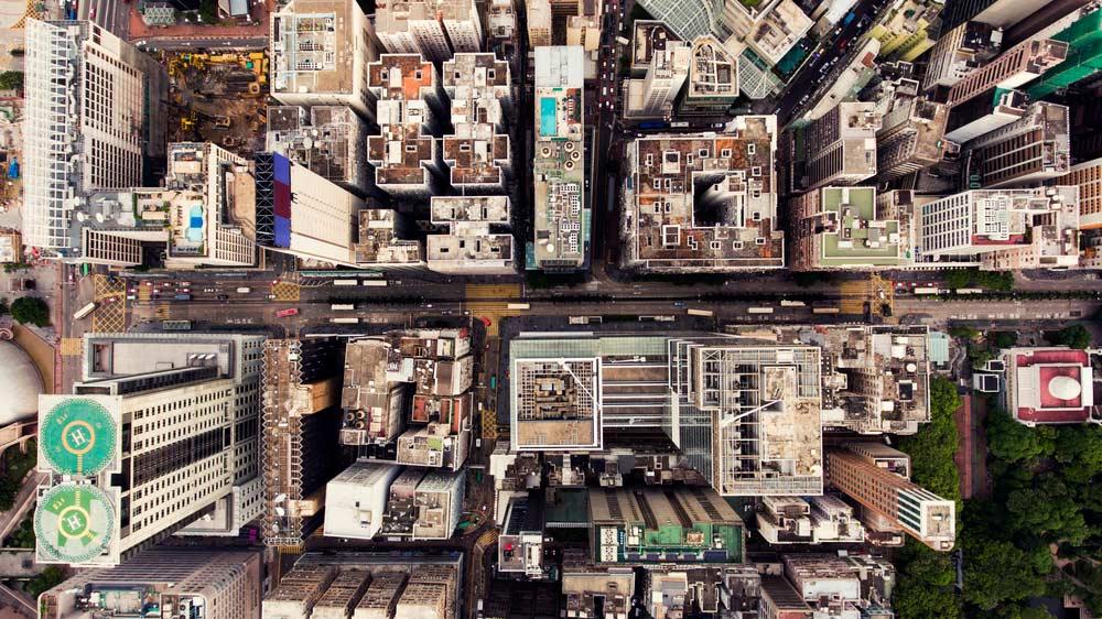 Conceito de cidade vista do topo Hong Kong