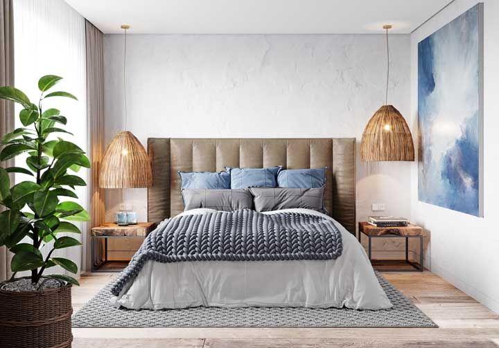 Luminárias de fibra natural: puro conforto e acolhimento para o quarto