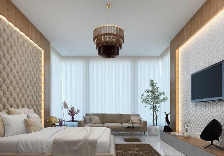 Lustre de vidro para fechar com chave de ouro a proposta elegante e refinada de decoração desse quarto