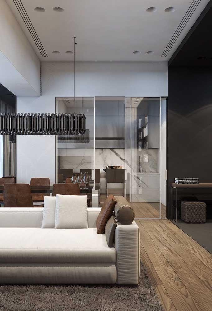 Ambientes integrados pelo mesmo piso