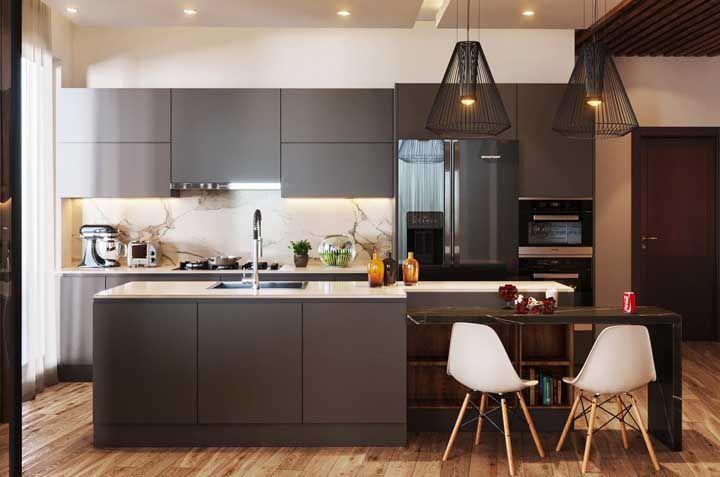 Toda a modernidade e estilo de uma cozinha planejada cinza