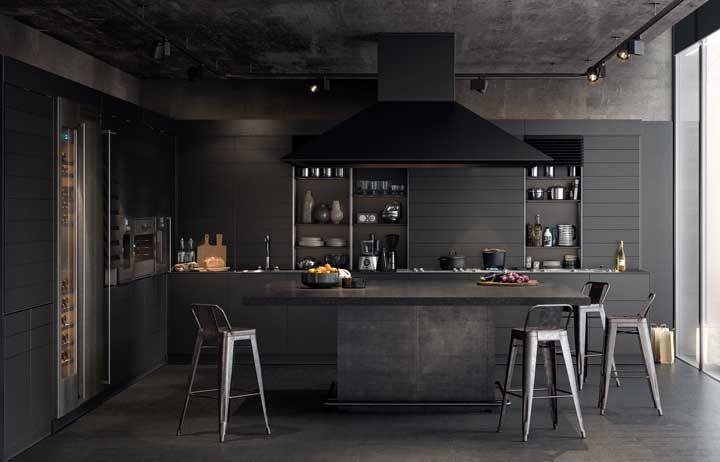 Uau! Uma cozinha planejada toda preta, aposto que você também gostou da ideia