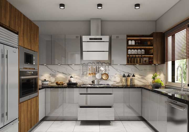 Acabamentos com brilho ou laca são perfeitos para propostas modernas e sofisticadas de cozinha