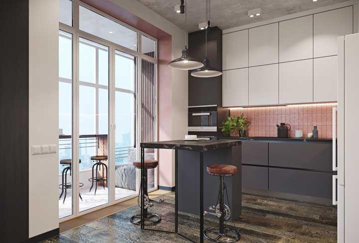 Um pouco de rosa para suavizar a cozinha