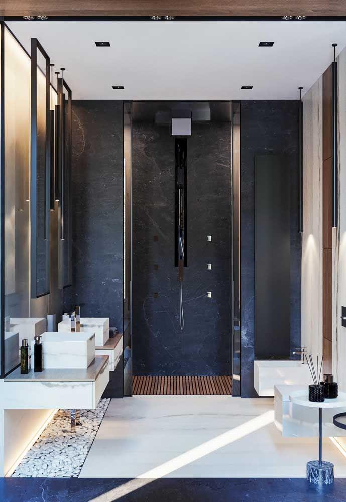 Projetos como esse deixam o banheiro moderno e funcional