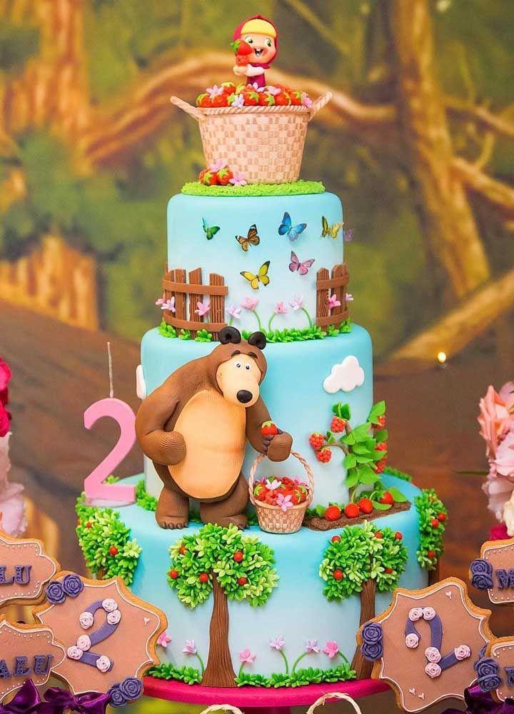 Que tal fazer reproduzir a floresta no bolo de aniversário?