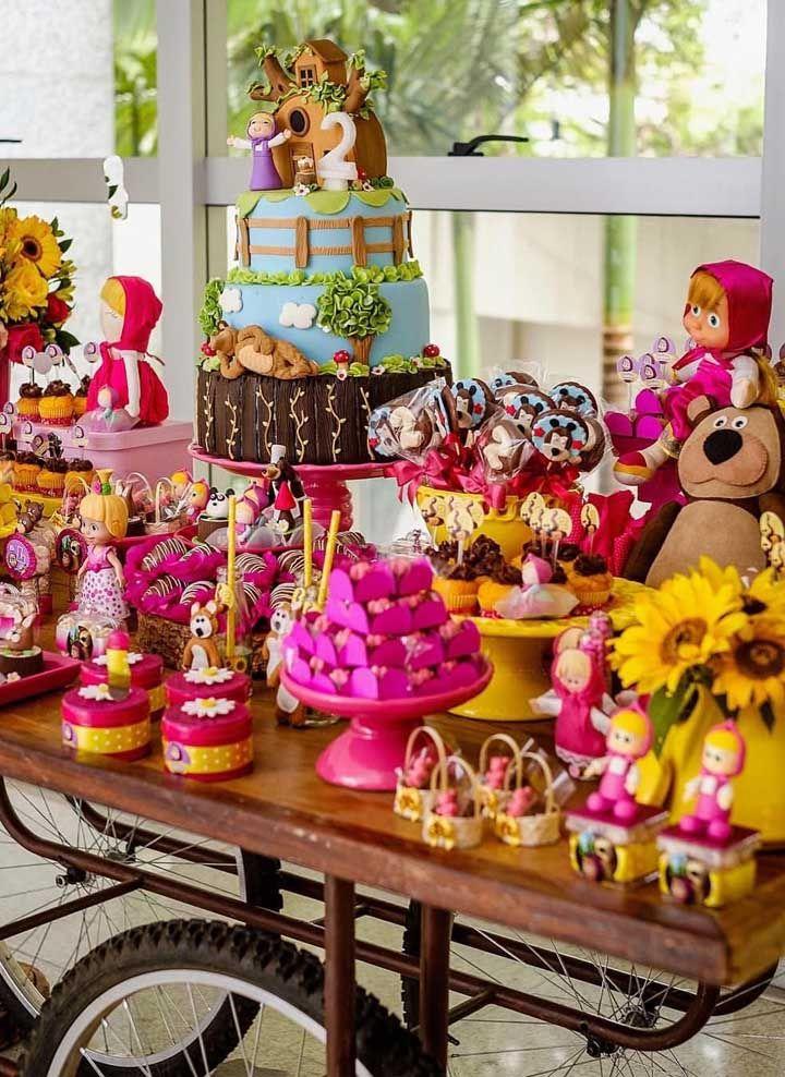 Olha o luxo e requinte dessa mesa decorada com o tema Masha e o Urso