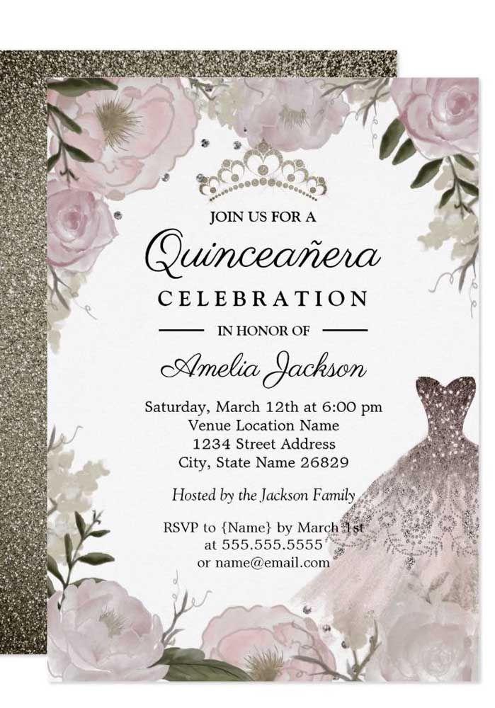O vestido da debutante é o destaque desse convite