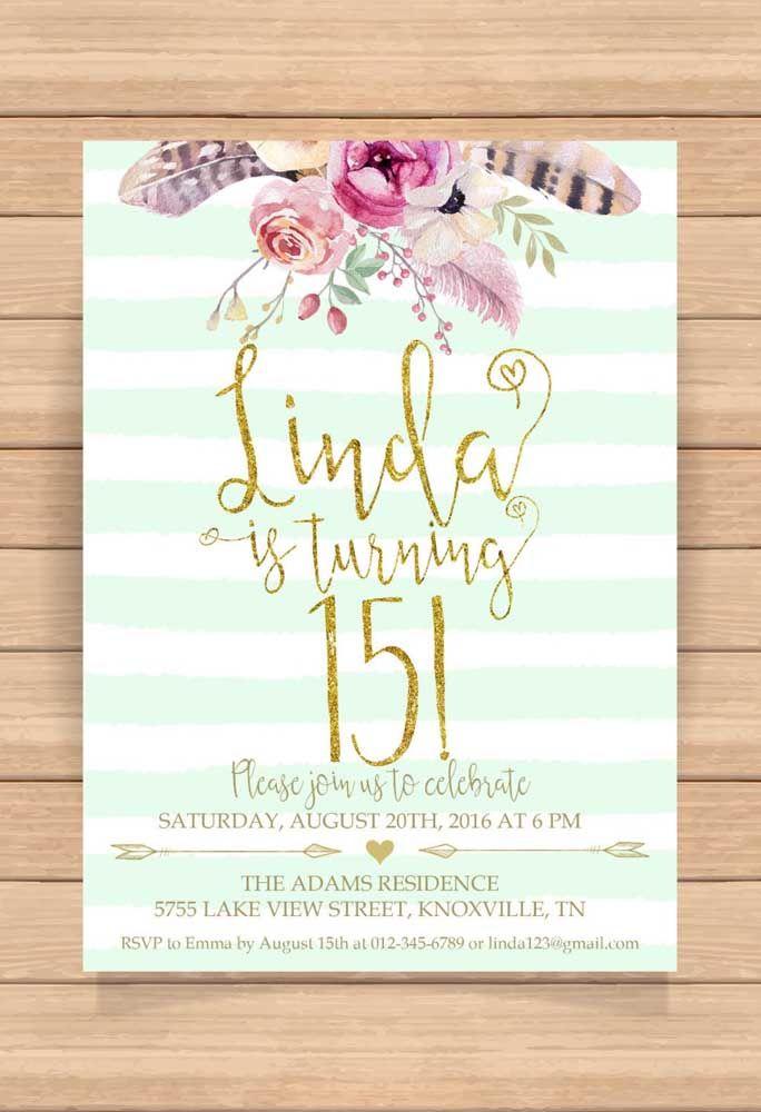Convite de 15 anos bonito, simples e objetivo