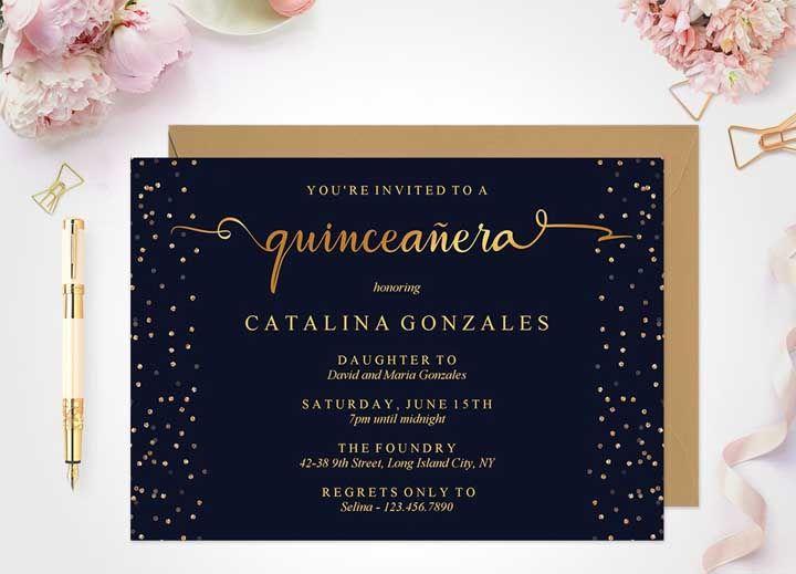 Convite de 15 anos clássico e formal