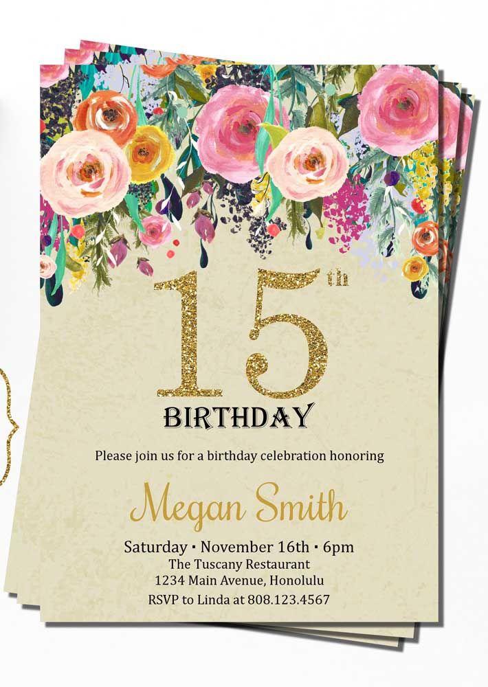 Flores e fontes douradas: um charme de convite de 15 anos