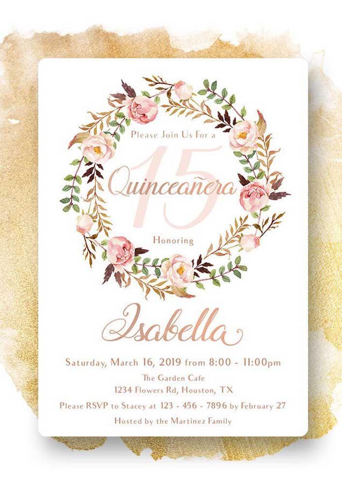 Convite de 15 anos floral e de tons super delicados