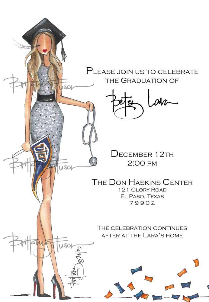 Um elegante convite para a graduanda de moda