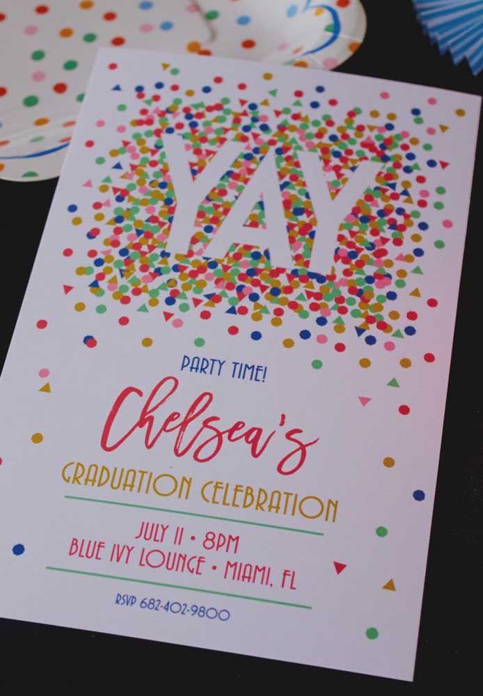Formatura é realmente uma festa; o convite deixa isso bem claro!