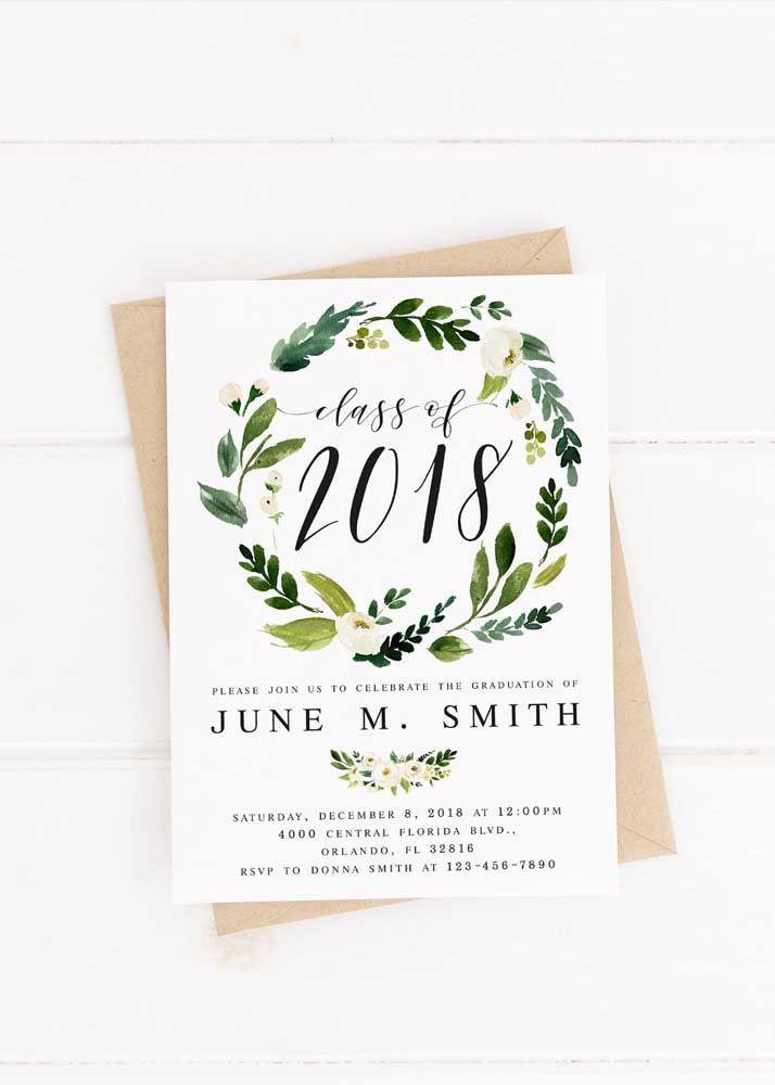 Convite de formatura emoldurado por uma coroa de flores