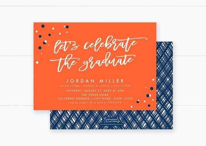 O belo contraste entre o azul e o laranja foram usados aqui como cor do convite de formatura