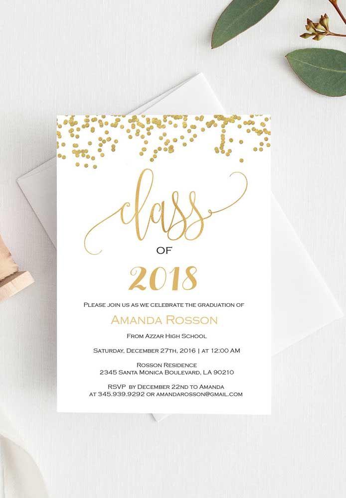 Convites de formatura como esse da imagem, podem ser facilmente elaborados em casa; já para imprimir, prefira uma gráfica, assim você garante a qualidade do papel e da impressão