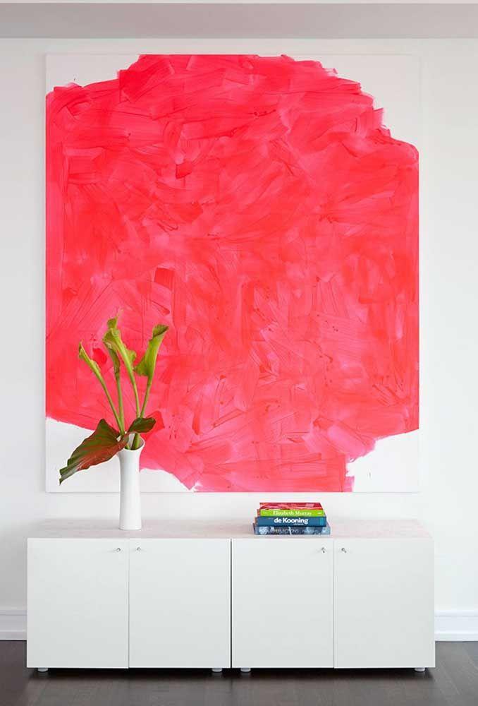 Na parede, em forma de arte, o vermelho é uma inspiração
