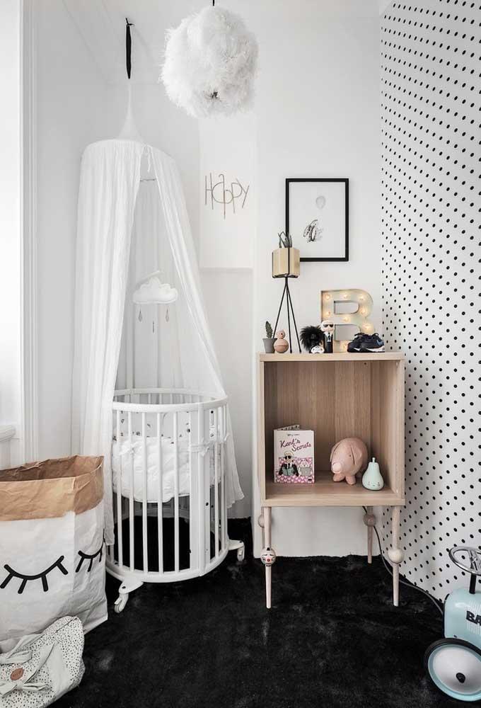 Para as mamães mais ousadas, as cores preta e branca podem ser perfeitas para criar um ambiente moderno.