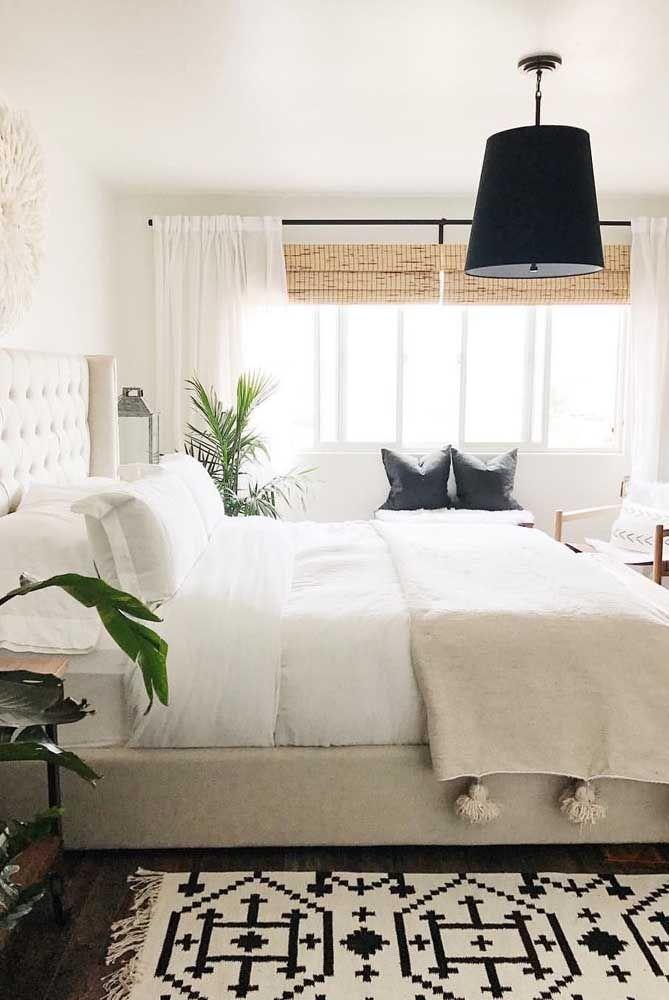 Decoração escandinava também combina com cortina de bambu; olha só!