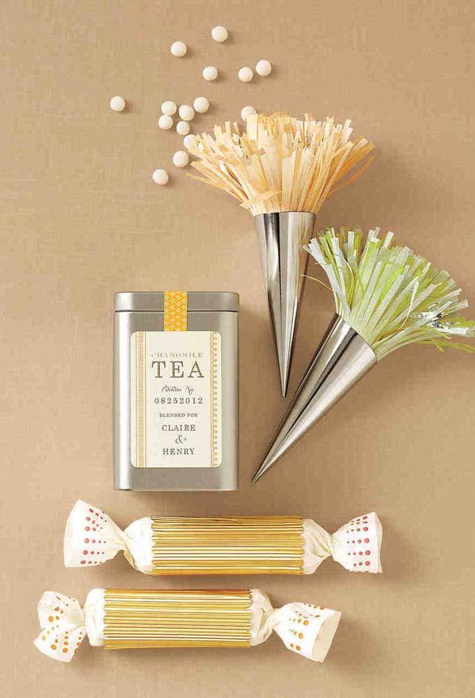 Ideia de lembrancinha de bodas de prata: caixinha de chá