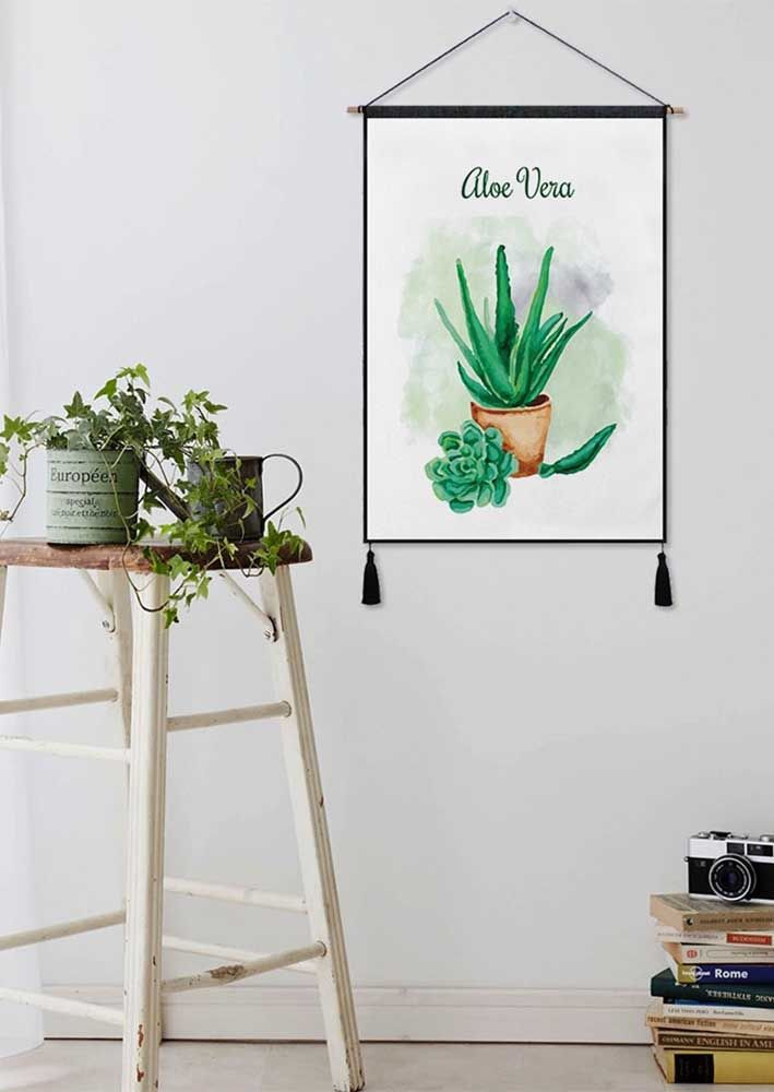 Mais uma sugestão de quadro de babosa para decorar a casa, caso não possa ter a planta de verdade