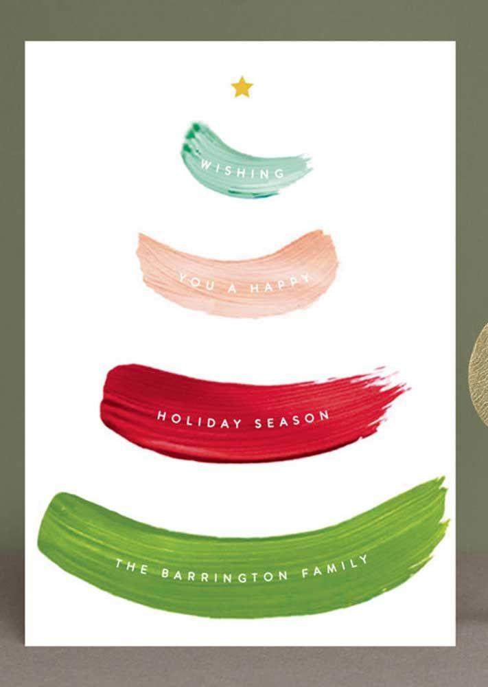 Algumas pinceladas de tinta no papel branco e o cartão de Natal está pronto, gostou da ideia? Simples assim!