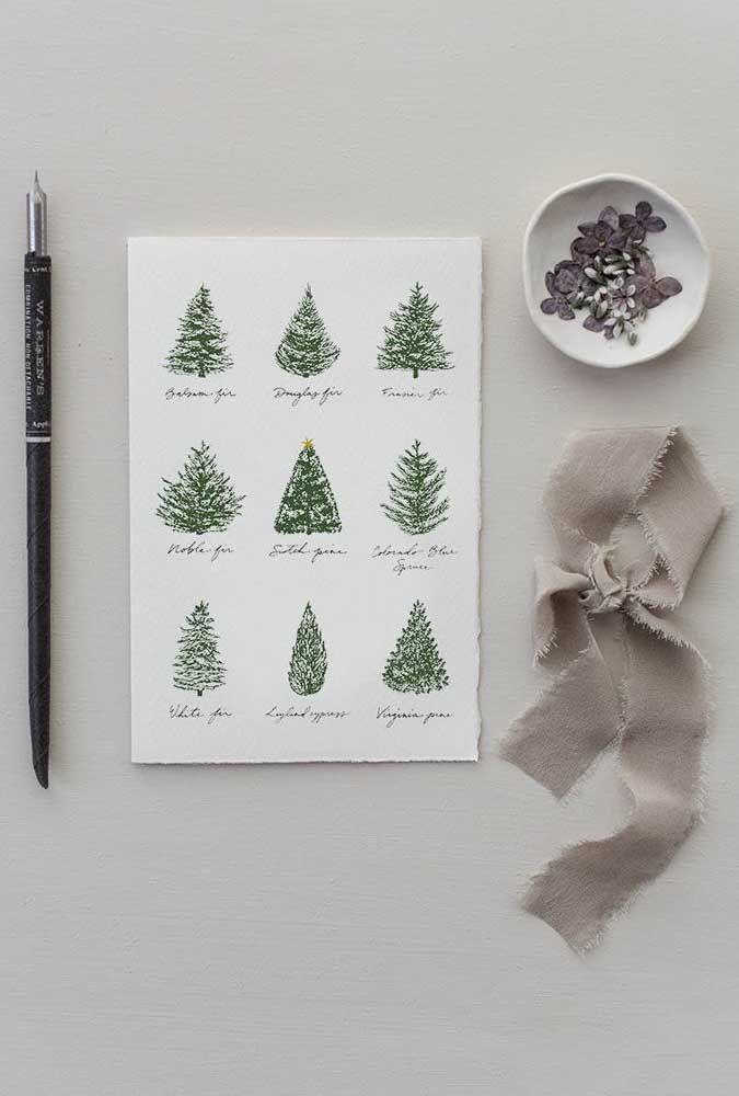Pinheiros de várias espécies decoram esse cartão de natal