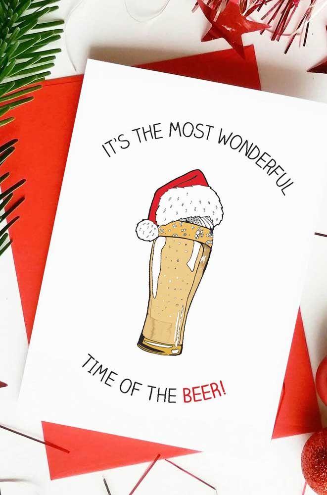 Cartão de Natal inspirado naquele amigo ou parente que ama tomar uma cerveja