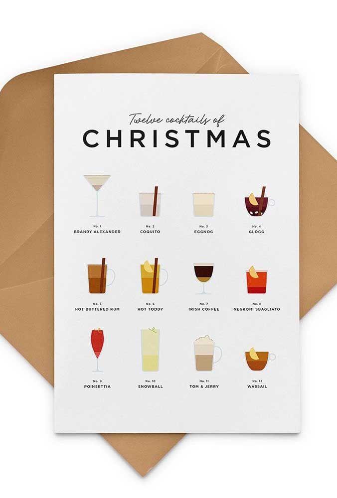 Olha outra sugestão de cartão de natal para os amigos que curtem um drinque