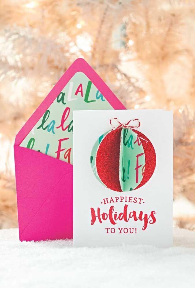 Um modelo de cartão de Natal 3D para deixar quem recebe apaixonado