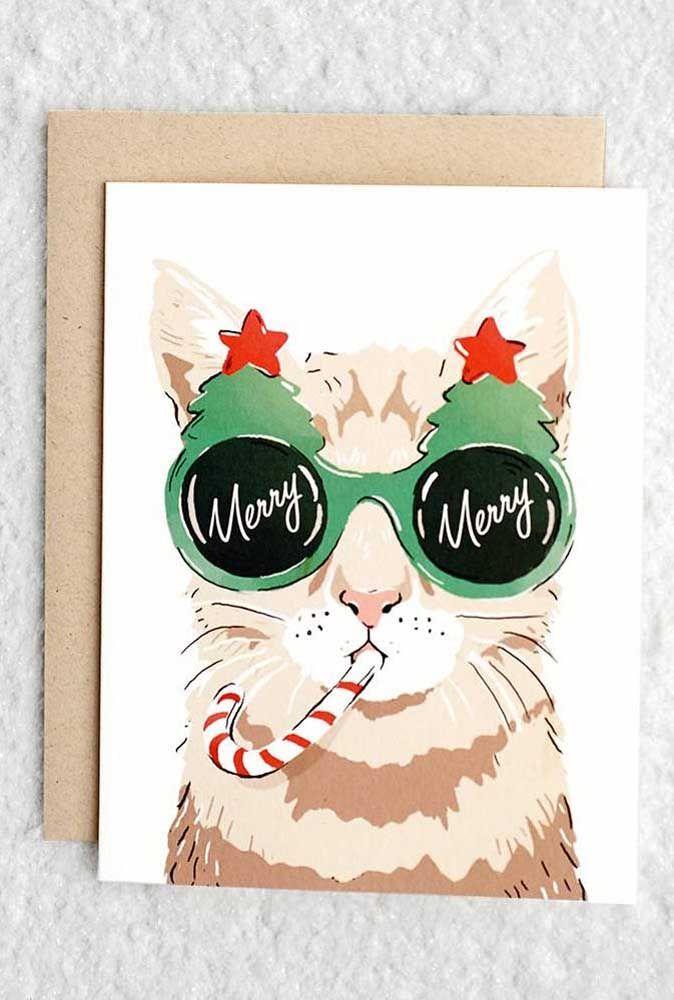 Achou que os fãs de gatos não teriam inspirações de cartão de natal? Olha esse aqui então