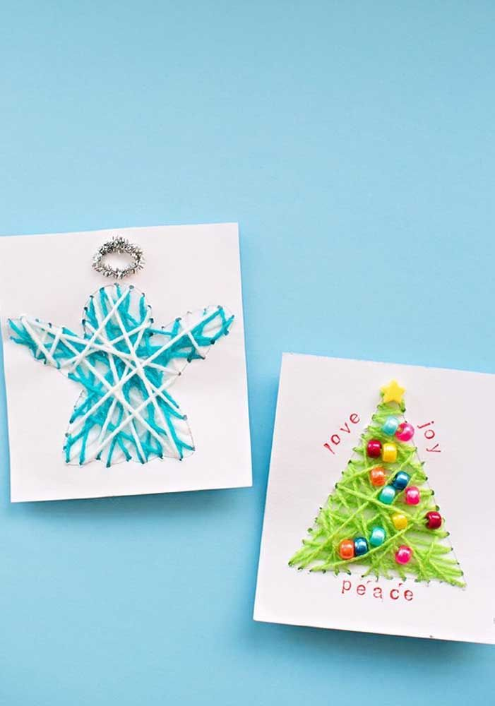 Que tal 'costurar' o cartão de natal? É isso mesmo!