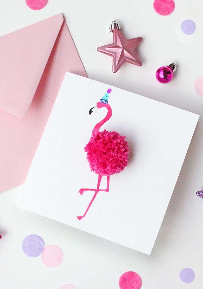 Cartão de Natal inspirado na ave tendência do momento: o flamingo
