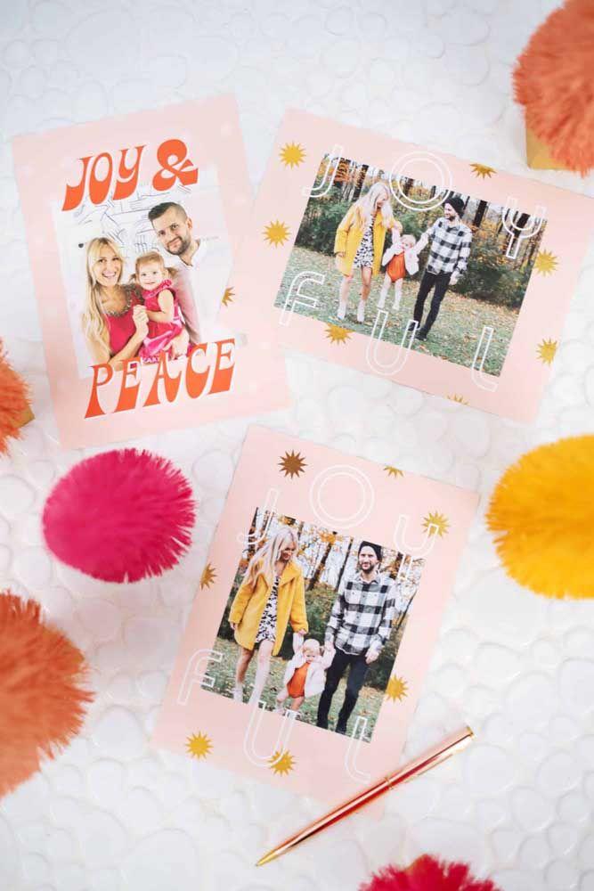 Uma ótima ideia de cartão de natal: fotos! Com certeza a pessoa que receber vai adorar