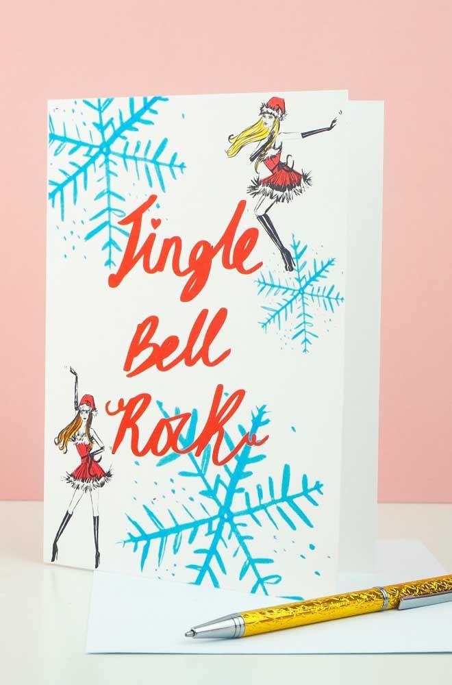 A letra da música escrita a mão no cartão de natal