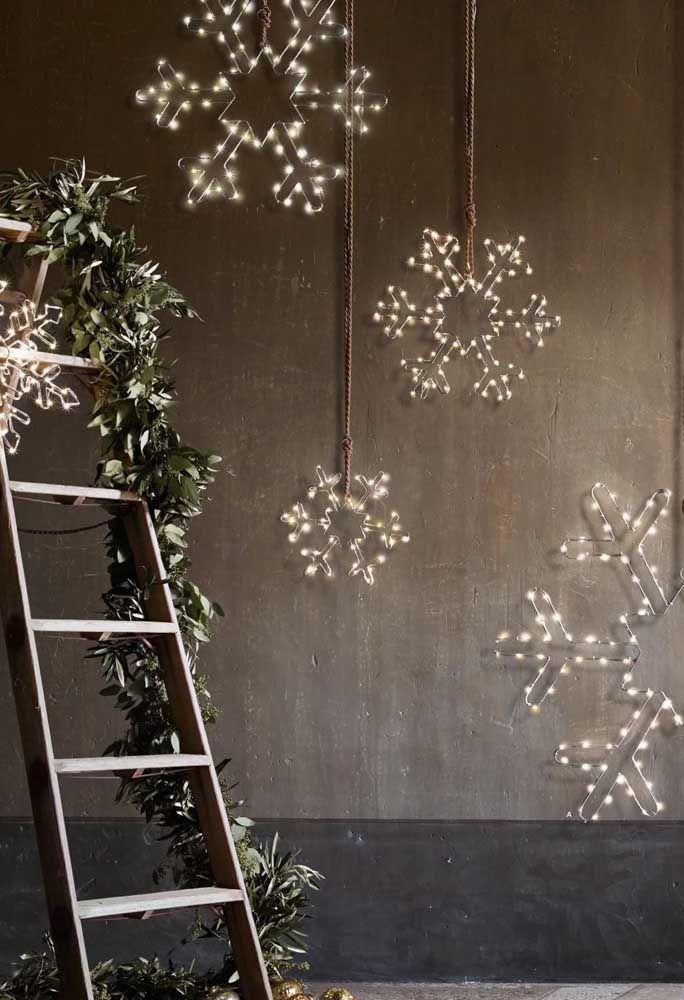 Que linda ideia! Flocos de neve iluminados