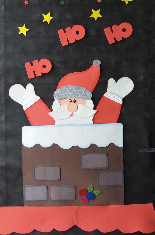 Papai noel e seu famoso Ho Ho Ho são a estrela desse painel de Natal feito em papel
