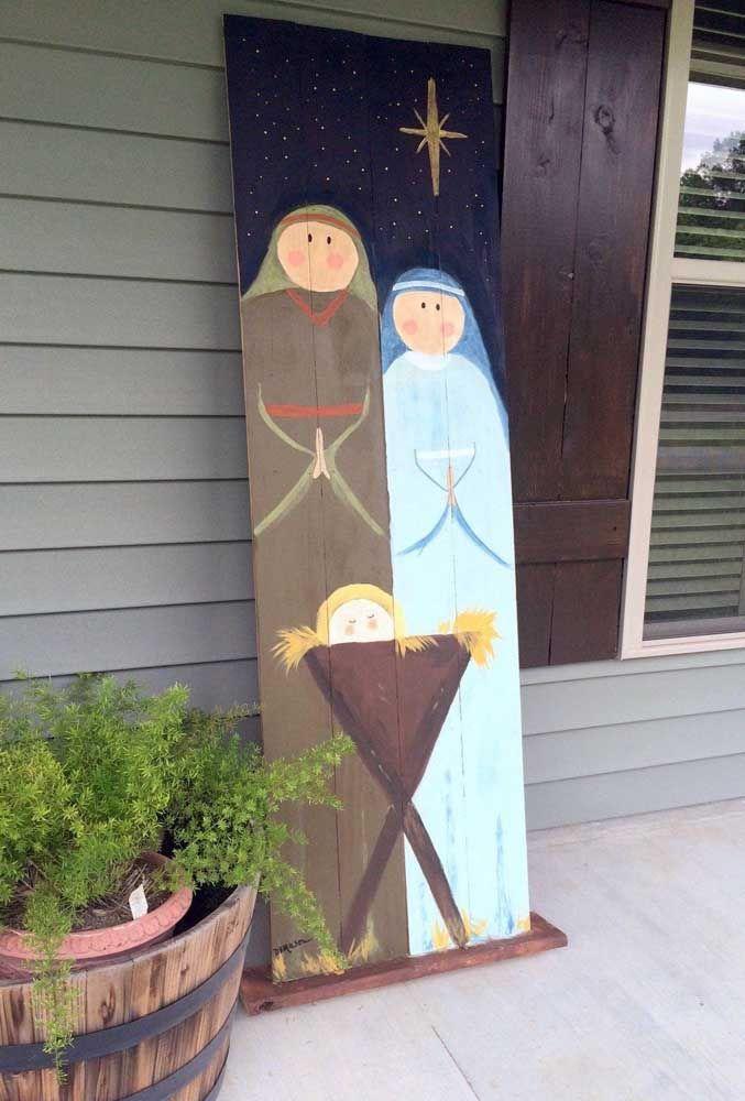 O nascimento do menino Jesus representado em pintura nesse painel