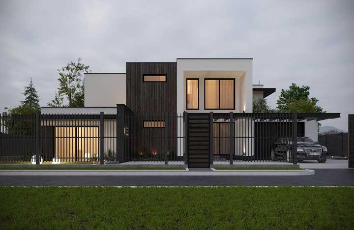 Apesar de altas, as grades vazadas não impedem que a frente da casa apareça