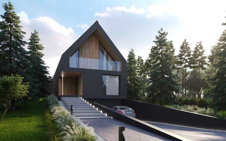 A forma triangular dessa casa não exige grandes acabamentos ou interferências para atrair olhares